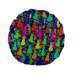 Colorful cats Standard 15  Premium Flano Round Cushions