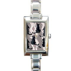 Elegant cats Rectangle Italian Charm Watch
