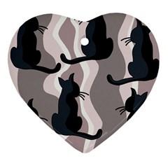 Elegant cats Heart Ornament (2 Sides)