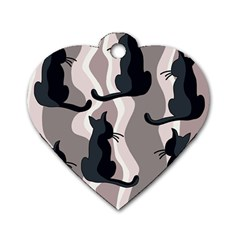 Elegant cats Dog Tag Heart (Two Sides)
