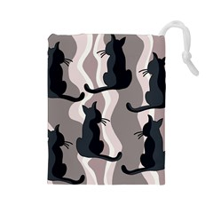 Elegant cats Drawstring Pouches (Large)