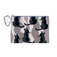 Elegant cats Canvas Cosmetic Bag (M)