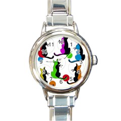 Colorful abstract cats Round Italian Charm Watch
