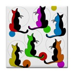 Colorful abstract cats Tile Coasters Front