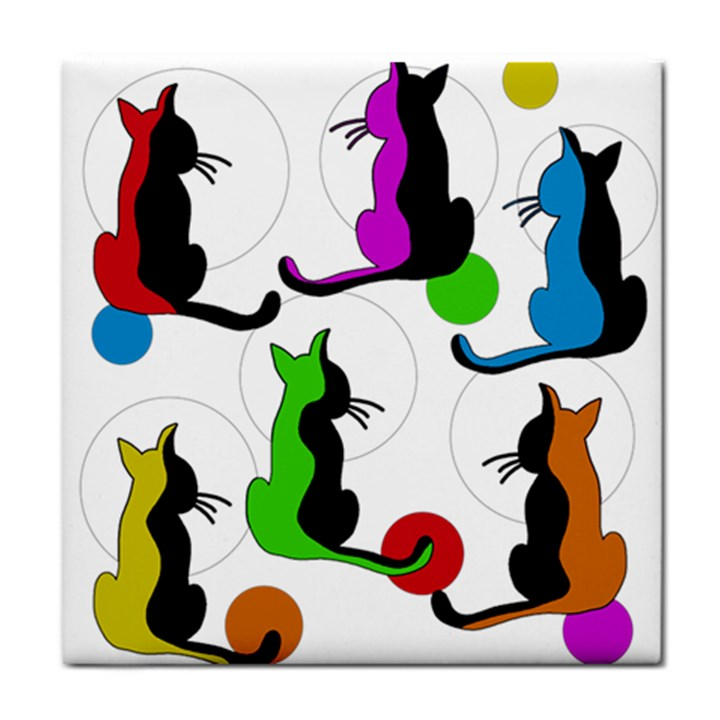 Colorful abstract cats Tile Coasters