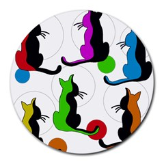 Colorful abstract cats Round Mousepads
