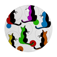 Colorful abstract cats Ornament (Round)