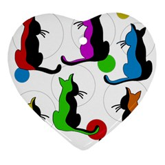 Colorful abstract cats Ornament (Heart)
