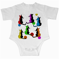Colorful abstract cats Infant Creepers