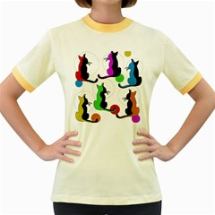 Colorful abstract cats Women s Fitted Ringer T-Shirts
