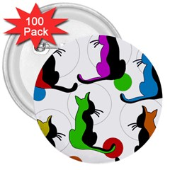 Colorful abstract cats 3  Buttons (100 pack)