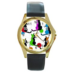 Colorful abstract cats Round Gold Metal Watch