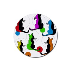 Colorful abstract cats Rubber Coaster (Round)