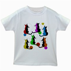 Colorful abstract cats Kids White T-Shirts