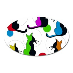 Colorful abstract cats Oval Magnet