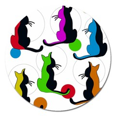 Colorful abstract cats Magnet 5  (Round)