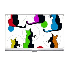 Colorful abstract cats Business Card Holders
