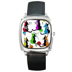 Colorful abstract cats Square Metal Watch
