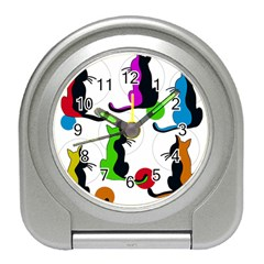Colorful abstract cats Travel Alarm Clocks