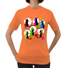 Colorful abstract cats Women s Dark T-Shirt