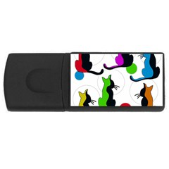 Colorful Abstract Cats Usb Flash Drive Rectangular (4 Gb)