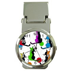 Colorful abstract cats Money Clip Watches