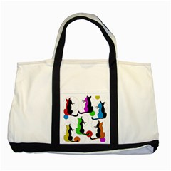 Colorful abstract cats Two Tone Tote Bag