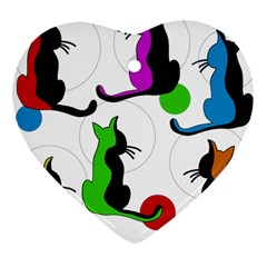 Colorful abstract cats Heart Ornament (2 Sides)