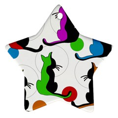 Colorful abstract cats Star Ornament (Two Sides)