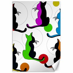 Colorful abstract cats Canvas 12  x 18