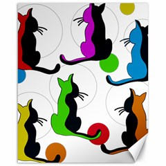 Colorful abstract cats Canvas 16  x 20