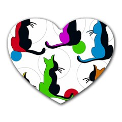 Colorful abstract cats Heart Mousepads