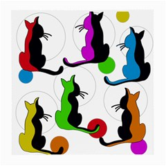 Colorful abstract cats Medium Glasses Cloth