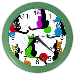 Colorful abstract cats Color Wall Clocks