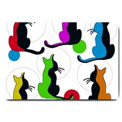 Colorful abstract cats Large Doormat