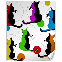 Colorful abstract cats Canvas 11  x 14