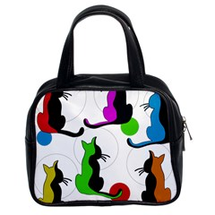 Colorful abstract cats Classic Handbags (2 Sides)