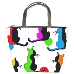 Colorful abstract cats Bucket Bags
