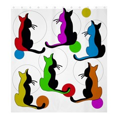 Colorful abstract cats Shower Curtain 66  x 72  (Large)