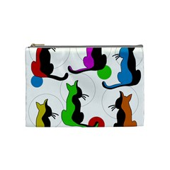 Colorful abstract cats Cosmetic Bag (Medium)