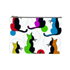 Colorful abstract cats Cosmetic Bag (Large)