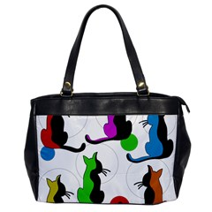 Colorful abstract cats Office Handbags