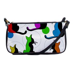 Colorful abstract cats Shoulder Clutch Bags