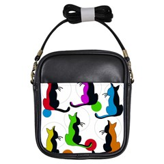 Colorful abstract cats Girls Sling Bags