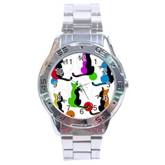 Colorful abstract cats Stainless Steel Analogue Watch
