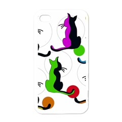 Colorful abstract cats Apple iPhone 4 Case (White)