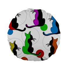 Colorful abstract cats Standard 15  Premium Round Cushions