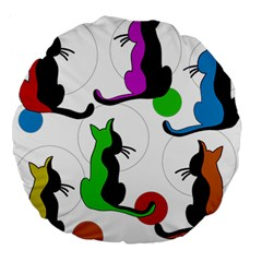 Colorful abstract cats Large 18  Premium Round Cushions