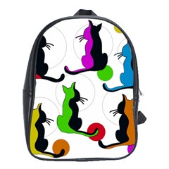 Colorful abstract cats School Bags (XL)