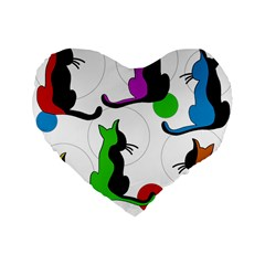 Colorful abstract cats Standard 16  Premium Heart Shape Cushions
